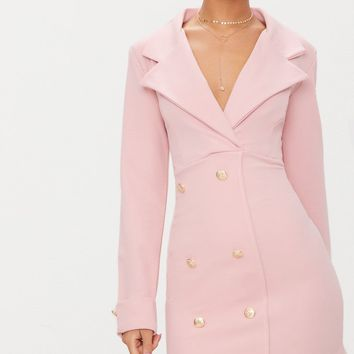 Dusty Pink Gold Button Detail Blazer Dress