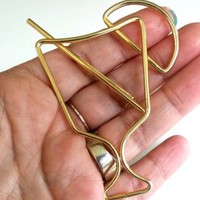 Glass Straw Lemon Slice Gold Tone Metal Big Drink Pin 1980s Tubular Wire Brooch