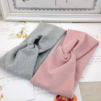 2019 Women Headband Cross Top Knot Elastic Hair Bands Soft Solid Girls Hairband Hair Accessories Twisted Knotted Headwrap