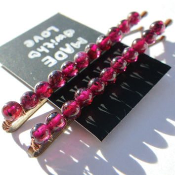 January Birthstone- Garnet- Crystal Healing- Red Purple- Beaded Bobby Pin- Hair ashion Accessory- Valentine's Day- Valentine- Gift for Her