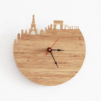 Clock  Paris  Eiffel Tower Arc de Triomphe Wall Clock by iluxo