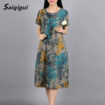 Saiqigui spring summer Fashion Short sleeve women dress casual  Loose Print cotton and Linen dress o-neck vestidos de festa