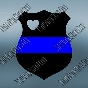 Police Badge Heart Back the Blue Flag Thin Blue Line Vinyl| Police Yeti Cop Decal | Distressed Police American Flag | Blue Lives Matter |458
