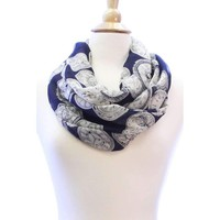 Vintage Clock Navy Blue Wide Silk Blend Lightweight Infinity Scarf