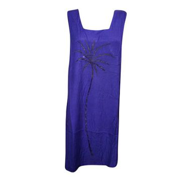 Mogul Womens Shift Dress Palm Tree Embroidery Blue Sleeveless Bohemian Sexy Holiday Sundress - Walmart.com