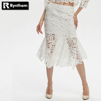 Rynthem Women Slim Hip Trumpet Mermaid Lace Skirt Floral Hollow Knitting Skirts Fashion Mid-calf Length Plus Size New Hot
