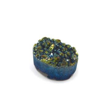 Druzy Cabochon 10mm x 14mm Oval Iridescent Metallic Blue Green Gold (Lot. C03) For Setting and Jewelry Making