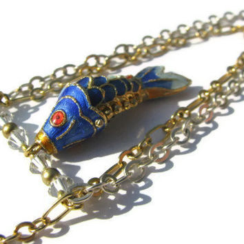 Blue Koi Fish Necklace- Gold and Sterling Silver Two-Tone Pendant Necklace