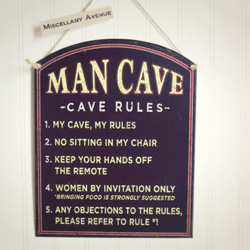 Man Cave Rules / Man Cave Sign / Tin Sign / Gifts for Him / Father's Day Gift / Den Decor /