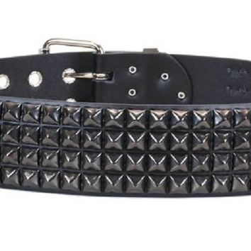 "4-Row Black Pyramid Studs Black Leather Belt 2-1/4"" Wide"