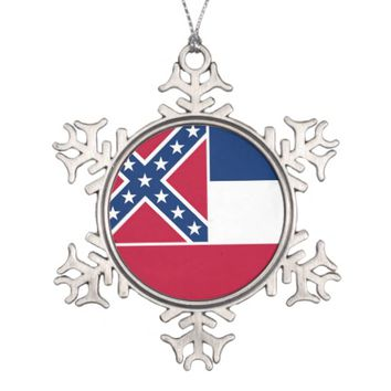 Snowflake Ornament with Mississippi Flag