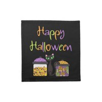 Halloween Candy Black Cat Printed Napkins from Zazzle.com