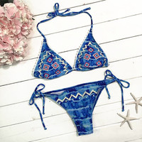 Cupshe Play Ice Cold Ocean Halter Bikini Set