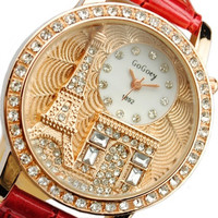 Fashion Women Lady Tower Quartz Wrist Watch Crystal Dial Leather Band = 1956613380