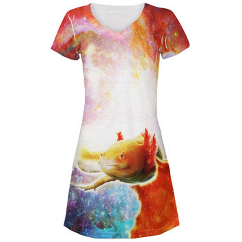 Galaxy Axolotl Mexican Salamander All Over Juniors V-Neck Dress