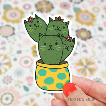 Cactus Sticker, Cat Decal, Potted Plant Sticker, Plant Mom, Prickly Pear, Modern Decal, Cat Mom, Tumbler Sticker, Gardening, Succulent, Cute