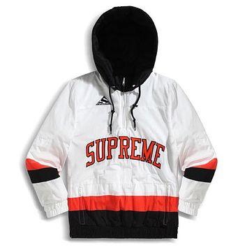 Supreme high quality new fashion letter couple splice contrast color hooded long sleeve top coat White