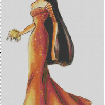 Disney Designer Princess Doll Pocahontas Cross Stitch Pattern PDF (Pattern Only)