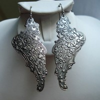 Wing Earrings  Antiqued Silver Dangles  by ForevermoreCreations
