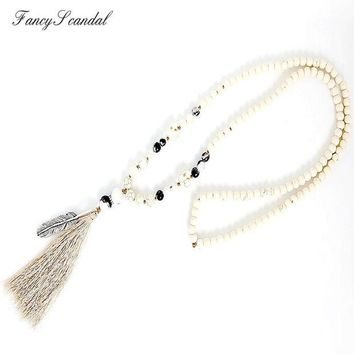 LMFET7 White stone turquois beads handmade tassel pendant long necklace boho style knotted necklace women jewelry