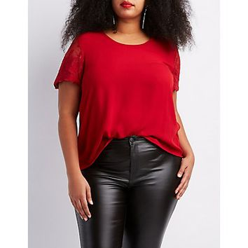 Plus Size Lace-Sleeve Chiffon Top | Charlotte Russe