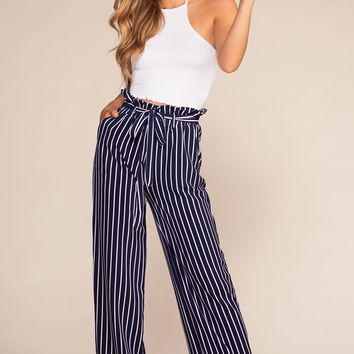Madison Avenue High Waisted Paperbag Pants - Navy