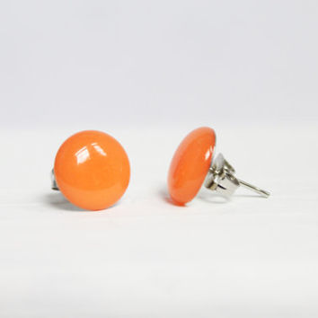 Bright Orange Earrings, Stud Earrings, Hypoallergenic Jewelry