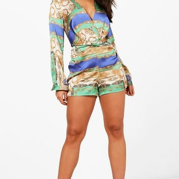 Averi Scarf Print Twist Front Playsuit | Boohoo