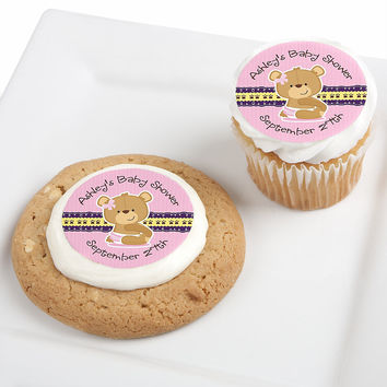Baby Girl Teddy Bear - Personalized Baby Shower Edible Cupcake Toppers - 12 ct