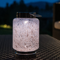 Solar - SOLAR HAND-BLOWN GLASS BOATERS LANTERN-WHITE CYLINDER