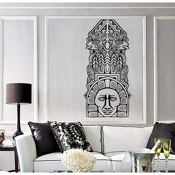 Large Vinyl Decal Wall Sticker Aztec Totem Poles North American resident Unique Gift (n726)
