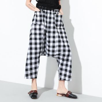 Vintage Retro Hippie Boho Bohemian Plaid Elastic Waist Harem Pocket Loose Cotton Linen Palazzo Capri Crotch Pants Women Trousers