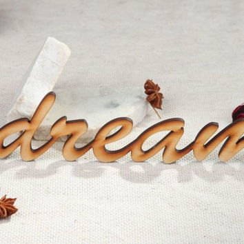 Handmade scrapbooking nice wooden beautiful Chipboard word Dream for decoration
