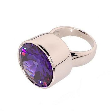 Dramatic Contemporary Single Stone Statement Ring in Deep Purple Cubic Zirconia
