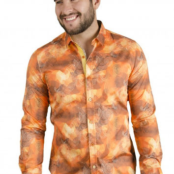 Platini Men's Orange Fanta Button Up Shirt