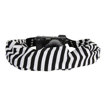 Scarf Camera Strap with Hidden Pocket (Stripe Black)