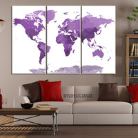 Large Wall Art Canvas Purple WORLD MAP with White Background - 3 Panel Canvas Art Print - Framed World Map  - Colorful Watercolor World Map - MC48