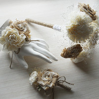 Burlap, Sola Flower & Babies Breath Bridesmaid Bouquet, Flower Wand, Dainty and Elegant. Made to Order.