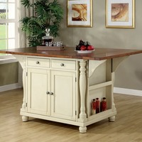 Martha collection antique country style buttermilk finish and cherry finish wood drop leaf top large kitchen storage island