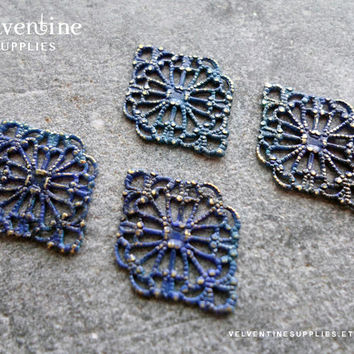 6pcs ∙ MARINE | Patina Ornate European Filigree Diamond Vintage Blue Faux Verdigris Victorian Floral Lace Wrap Jewelry Supplies