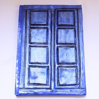 Handmade River Song Tardis inspired notebook made from Polymer clay