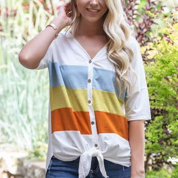 Summer Chill Striped Block Top