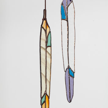 Colin Adrian Stained Glass Long Feather