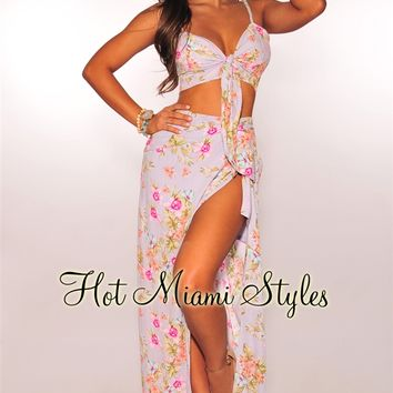 Lilac Floral Tie Up Slit Maxi Two Piece Set
