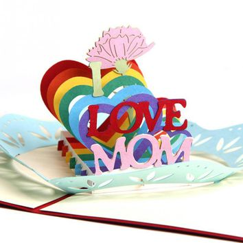 Love 3D Pop up Wedding Greeting Card Postcard Matching Envelope Laser Cut Handmade Birthday Post Card Valentines Day Gift