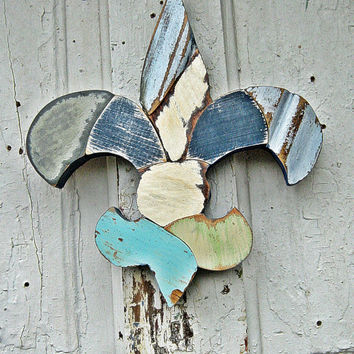 Fleur De Lis Mosaic Wood Art, Reclaimed Wood Art, New Orleans Louisian Decor, Kappa kappa gamma
