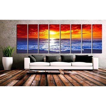 "30""x 96"" 8 Panels Art Canvas Print Sunset Sea Beach wall decor Home"