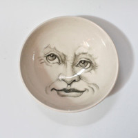 Man in the Moon Bowl, Porcelain Decorative Bowl, White Bowl with hand drawn face » Craftori