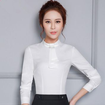 Fashion women long sleeve shirt new arrival  O-neck slim Diamonds bow tie Blouse black white office work plus size clothes tops