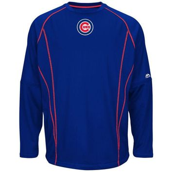 Men's Chicago Cubs Authentic Royal Majestic Big and Tall Practice Pullover Therma Base Top